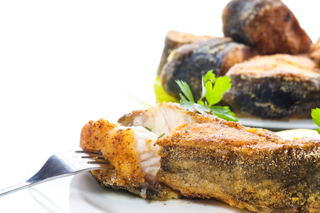catfish roasted in batter on white background