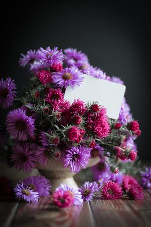 bouquet of beautiful purple chrysanthemums