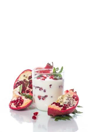 sweet homemade yogurt with pomegranate