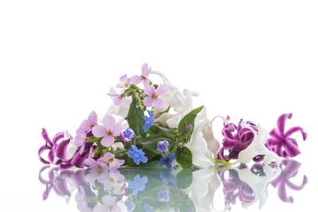 beautiful bouquet of spring flowers on a white background 写真素材