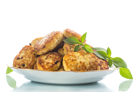 fried chicken cutlets on a white background Stock Photo