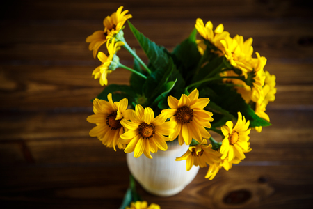 bouquet of yellow big daisies on a black background Stok Fotoğraf