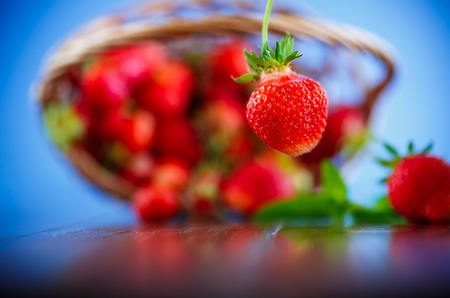 ripe red organic strawberry isolated on a blue background