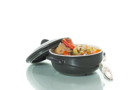 vegetable soup with meatballs and pepper in a plate on the table 스톡 콘텐츠