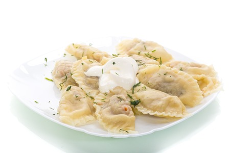 Dumplings boiled with stuffing on a white background