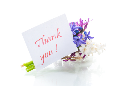 spring beautiful flowers of a hyacinth with a thank you card 写真素材