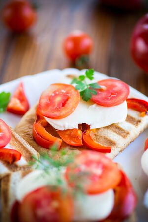 Closeup of a fresh sandwich with mozzarella, tomatoes , on a wooden table. Stockfoto - 129230505