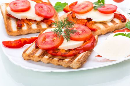 Closeup of a fresh sandwich with mozzarella, tomatoes , on a white background. Stock Photo