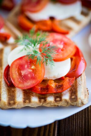 Closeup of a fresh sandwich with mozzarella, tomatoes , on a wooden table.