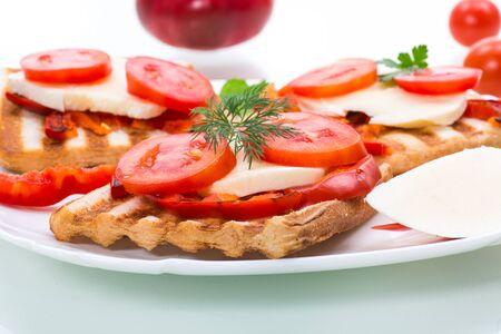 Closeup of a fresh sandwich with mozzarella, tomatoes Stock Photo
