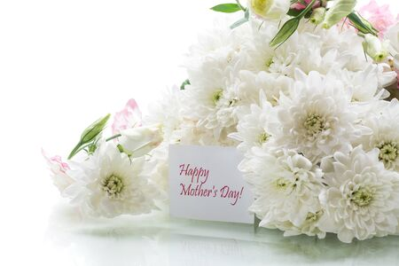 bouquet of white chrysanthemums isolated on a white