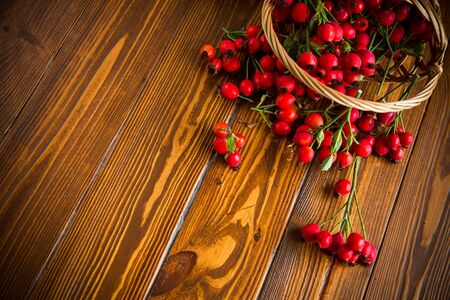 ripe red dogrose in a basket on a wooden table