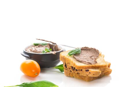 sandwiches with homemade chicken liver pate closeup isolated on white background
