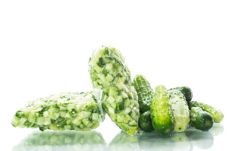 diced cucumbers in a vacuum bag isolated on white background Stockfoto