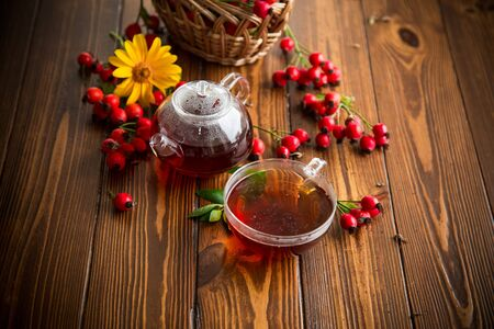 hot tea from medicinal fruits of red ripe rosehip