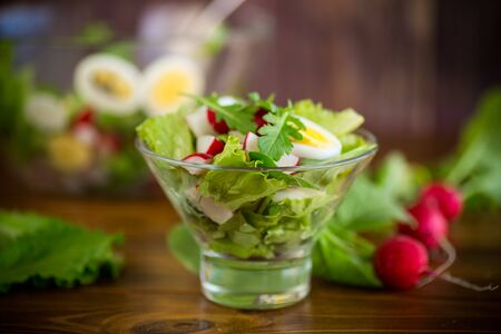 spring salad with arugula, boiled eggs, fresh radish, salad leaves in a glass bowl Stockfoto