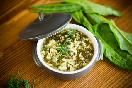 fresh spring organic soup with green sorrel and egg in a plate on a wooden table Stock Photo