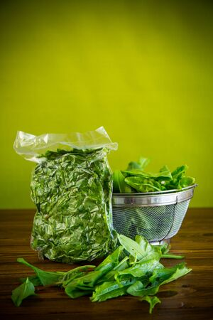 fresh green sorrel in a vacuum bag, in a colander on a wooden table