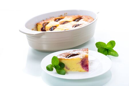 sweet homemade casserole with fruits inside in a plate 스톡 콘텐츠