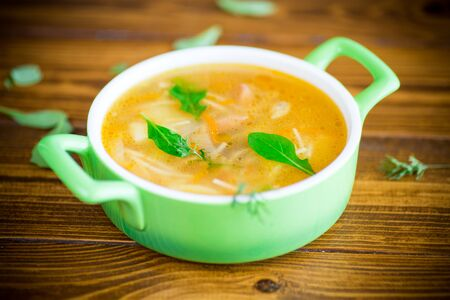spring soup with vermicelli, vegetables and herbs Фото со стока