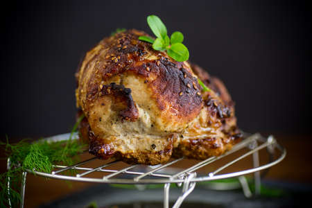juicy pork neck, baked meat with spices Archivio Fotografico