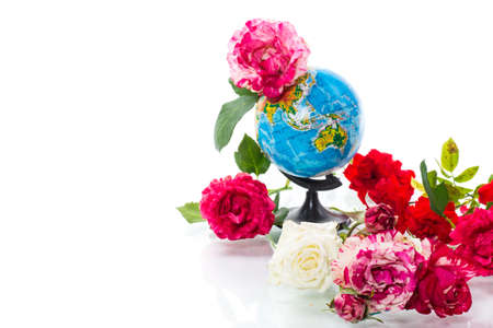 Globe with books and flowers on a white background