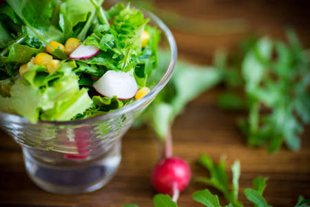 Spring salad from early vegetables, lettuce leaves, radishes and herbs in a plate on the table