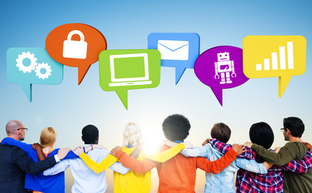 Group of Friends Holding Around Each Other with Social Media and Speech Bubbles photo