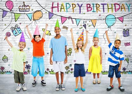 kids birthday party: Children Celebrating Birthday Party Stock Photo