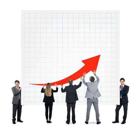 Business People Holding a Graph Stock Photo - 26787425