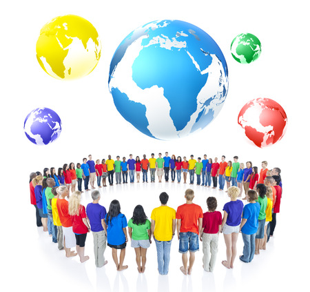 Large Group of People Standing Around Globe photo