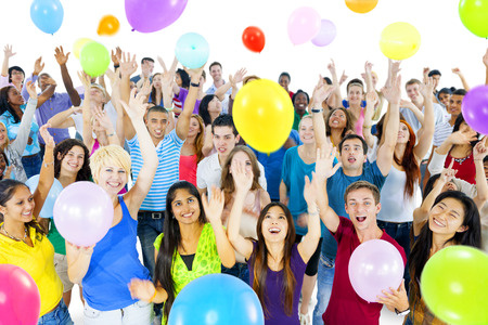 Diverse World People Celebrating With Balloons photo