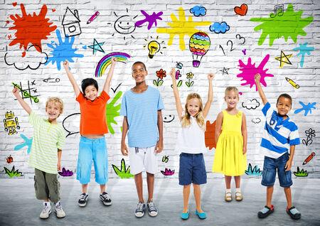 mixed race girl: Diverse Happy Children Celebrating