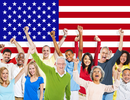 Group Of Multi-Ethnic People Celebrating With American Flag photo