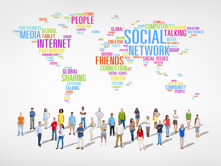 social issue: Social Networking With Diverse World People Stock Photo