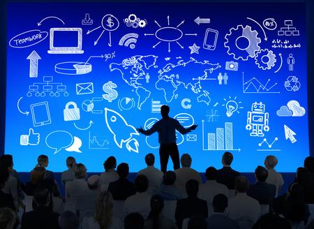 Zakelijke presentatie met Infographic Stockfoto