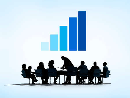 Silhouette of Business Meeting With Graph photo