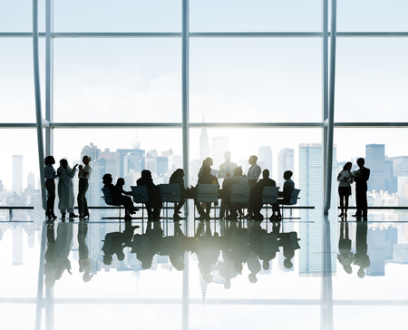 Silhouette of Business Meeting With Cityscape