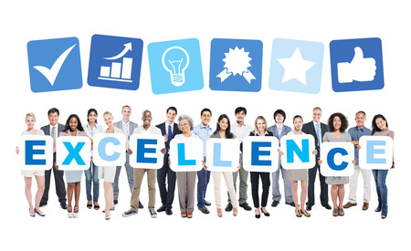 excellence: Multi-ethnic Group of People Holding The Word Excellence