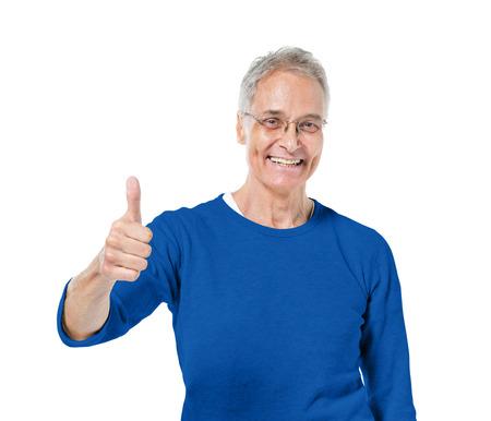 Volwassen man geven thumbs up Stockfoto