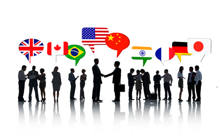global partnership: Group Of International Business People Talking To Each Other In A White Background