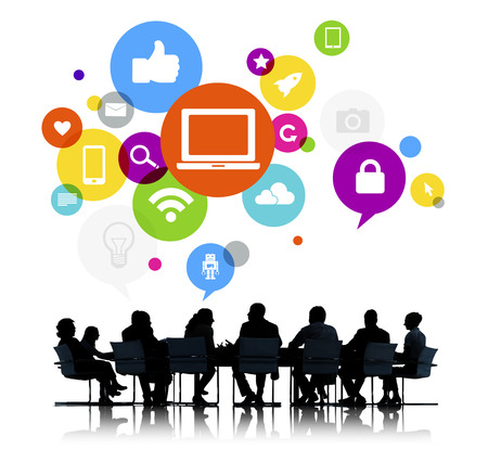 Business People in a Meeting and Social Media Related Symbols Above photo