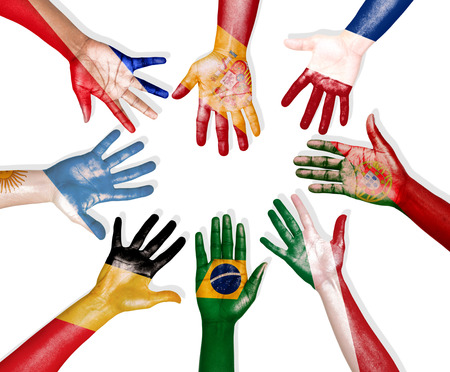 multinational: Multi-National Flags Drawn on Hands Forming a Circle