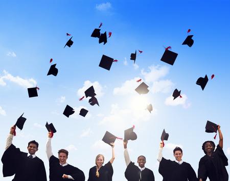 black graduate: Group of Diverse International Students Celebrating Graduation
