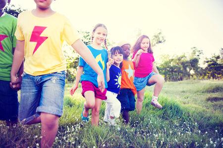 Multi-Ethnic Children Walking Together photo