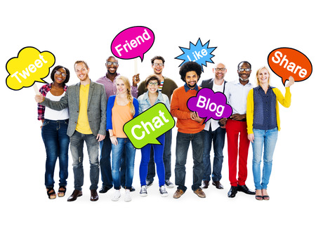 Group Of Multi-Ethnic People Holding Speech Bubbles With Words Related To Social Networking  photo