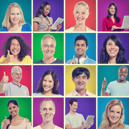 multiple ethnicity: Group of individuals smiling and giving thumbs up  Stock Photo