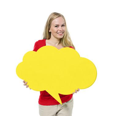 Casual Woman Holding Speech Bubble Banco de Imagens - 27744564