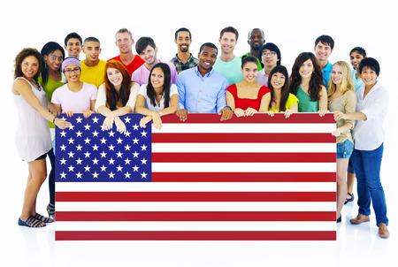 Large Group of People Holding American Flag Board Reklamní fotografie - 27744682