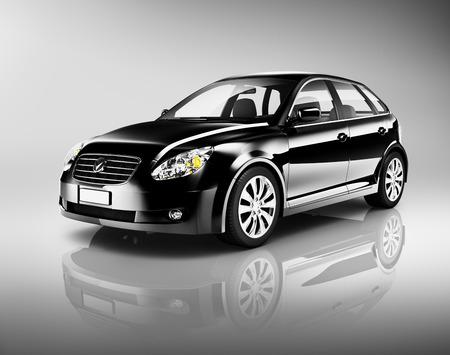 shiny black: Three-Dimensional Shape Black Sedan Studio Shot